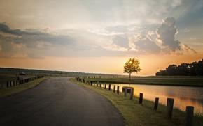 Картинка дорога, небо, пейзаж, закат