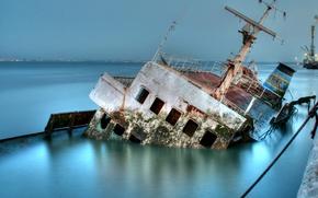 Картинка корабль, Авария, затонул