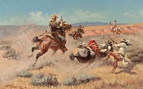 Картинка небо, горы, война, лошадь, картина, прерия, индеец, John Wade Hampton