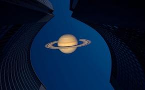 Картинка небо, фон, сатурн