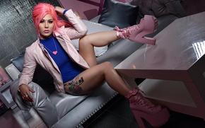 Обои tattoo, татуировки, alternative, Annalee Belle, волосы, girl, model, платформа, девушка, туфли, розовые, ноги