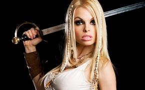 Картинка девушка, украшения, меч, актриса, блондинка, Jesse Jane