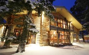 Картинка зима, снег, дом, вечер