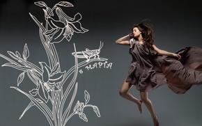 Картинка девушка, цветы, кузнечик, 8 марта