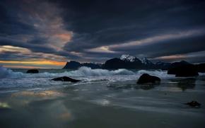 Обои море, берег, ночь, пейзаж
