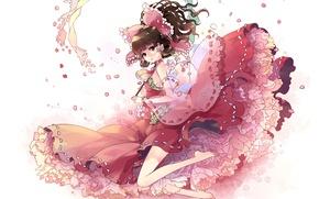 Картинка девушка, рисунок, лепестки, платье, touhou, hakurei reimu, kieta