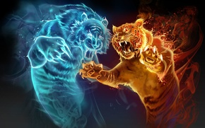 Картинка вода, тигр, огонь, магия, игра, духи, арт