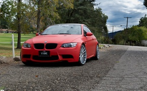 Картинка BMW, Red, Matte, Stance, Wheels