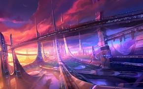 Картинка облака, закат, мост, город, будущее, озера, небоскребы, мегаполис