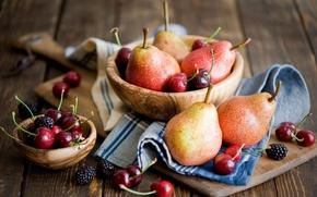 Картинка ягоды, посуда, фрукты, груши, деревянная, ежевика, черешни, Anna Verdina