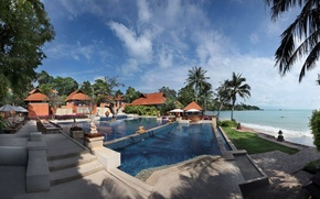 Картинка пляж, пальмы, океан, бассейн, Thailand, resort, Rayong
