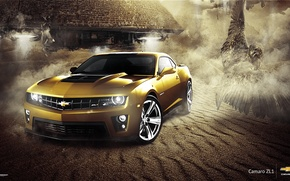 Обои Car, Eagle, Muscle, Camaro, Gold, ZL1, Chevrolet