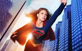 Картинка полет, фантастика, дома, костюм, сериал, DC Comics, Supergirl, 2015, Melissa Benoist, Мелисса Бенойст, Супергёрл