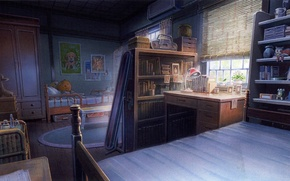 Картинка стол, комната, игрушки, книги, лампа, кровать, окно, шкаф, art, полки, the Girl who Leapt through …