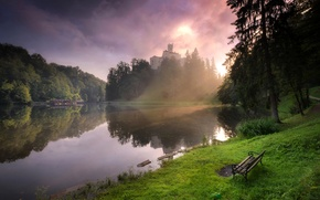 Картинка Природа, Трава, Озеро, Деревья, Скамейка, Хорватия, lake Trakoscan