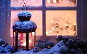 Картинка зима, снег, Новый Год, Рождество, light, Christmas, winter, snow, Xmas, decoration, candle, lantern, Merry