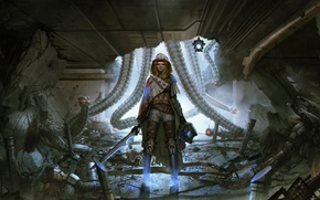 Обои девушка, роботы, арт, sci-fi, Cyberpunk