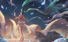 Картинка небо, вода, девушка, звезды, закат, цветы, горы, природа, аниме, арт, vocaloid, hatsune miku, chiwa, tsugumisky
