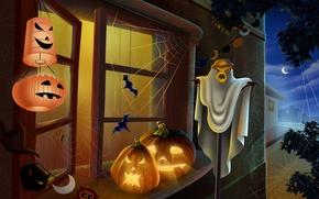 Картинка свет, ночь, окно, Halloween, тыква, Хэллоуин, фонарики