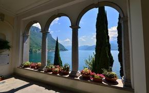 Картинка пейзаж, цветы, горы, озеро, вилла, дома, Италия, арка, Varenna, Villa Monastero