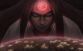 Картинка небо, ночь, луна, naruto, art, manga, ootsutsuki kaguya, земная поверхность, desorienter, бесконечное цукиёми