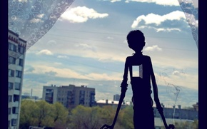 Картинка лето, небо, облака, настроение, сердце, дым, дома, тень, окно, сигарета, занавески, парень, форточка