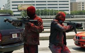 Обои оружие, краска, грабители, Три девятки, Triple 9, маски, автоматы
