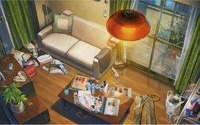 Картинка стол, комната, диван, лампа, окно, банки, журналы, беспорядок, вид сверху, kotonoha no niwa, сад изящных …