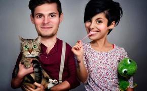 Картинка кот, юмор, муж, жена, семейное фото