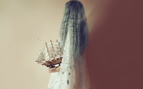 Картинка девушка, фон, кораблик