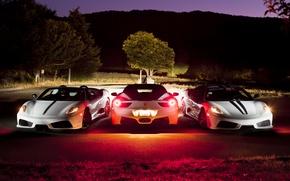 Картинка ночь, F430, Ferrari, white, 458, front, Scuderia, rear, Italia
