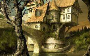 Картинка замок, графика, сказочный домик, фэнтези миры, светло-коричневый фон