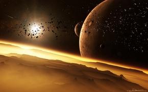 Обои кратеры, луны, поверхность, планеты, астероиды, звезды, свечение