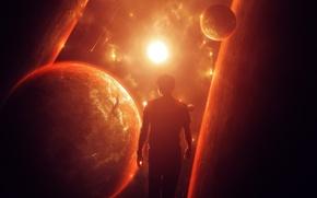 Картинка солнце, космос, планеты, арт, мужчина, силует, abikk