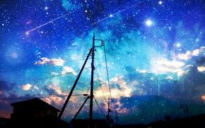 Картинка небо, звезды, облака, город, восход, столбы, провода, дома, аниме, арт, asuka