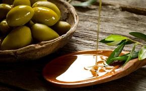 Обои оливка, ветка, стол, масло, лопаточка, плошка, листья