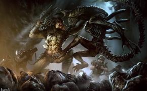 Картинка солдаты, пришельцы, Predator, Alien, art, marines, Alien vs Predator, xenomorph, giger, avp