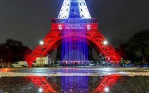 Картинка свет, огни, отражение, краски, Франция, Париж, Эйфелева башня