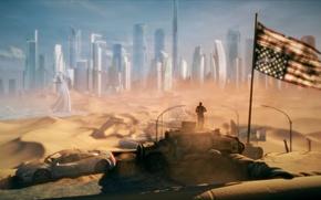 Картинка город, апокалипсис, пустыня, хаммер, флаг, америка, сша, пустош, будущие, Spec Ops: The Line