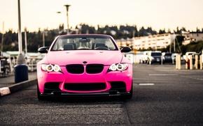 Картинка Pink, BMW, Розовая, Тюнинг, БМВ, Фары, E92, Ангельские глазки