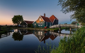 Картинка мост, домики, Нидерланды, Голландия, North Holland, Zaanse Schans, Zaanstad, водяной канал