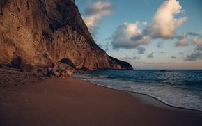 Картинка песок, море, облака, закат, камни, скалы, побережье, горизонт