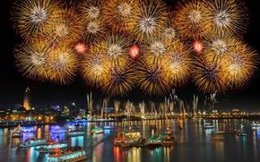 Картинка корабли, салют, Новый Год, Тайвань, фейерверк, гавань, Тайбэй