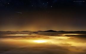 Картинка поверхность, небо, комета, планета, звезды, облака