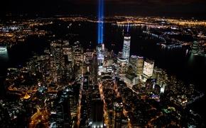 Обои ночь, мост, огни, дома, Нью-Йорк, небоскребы, панорама, залив, США, мегаполис