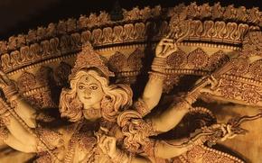 Картинка Индия, храм, Калькутта, статуя богини Дурги