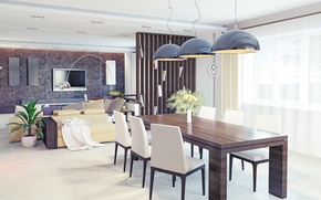 Картинка диван, стулья, стол, интерьер, подушки