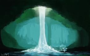 Картинка девушка, магия, водопад, пещера, art, солнечный свет, nou