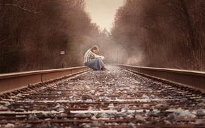 Обои железная дорога, настроение, девушка