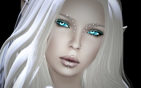Картинка девушка, пирсинг, рендер, лицо, эльф, белые волосы